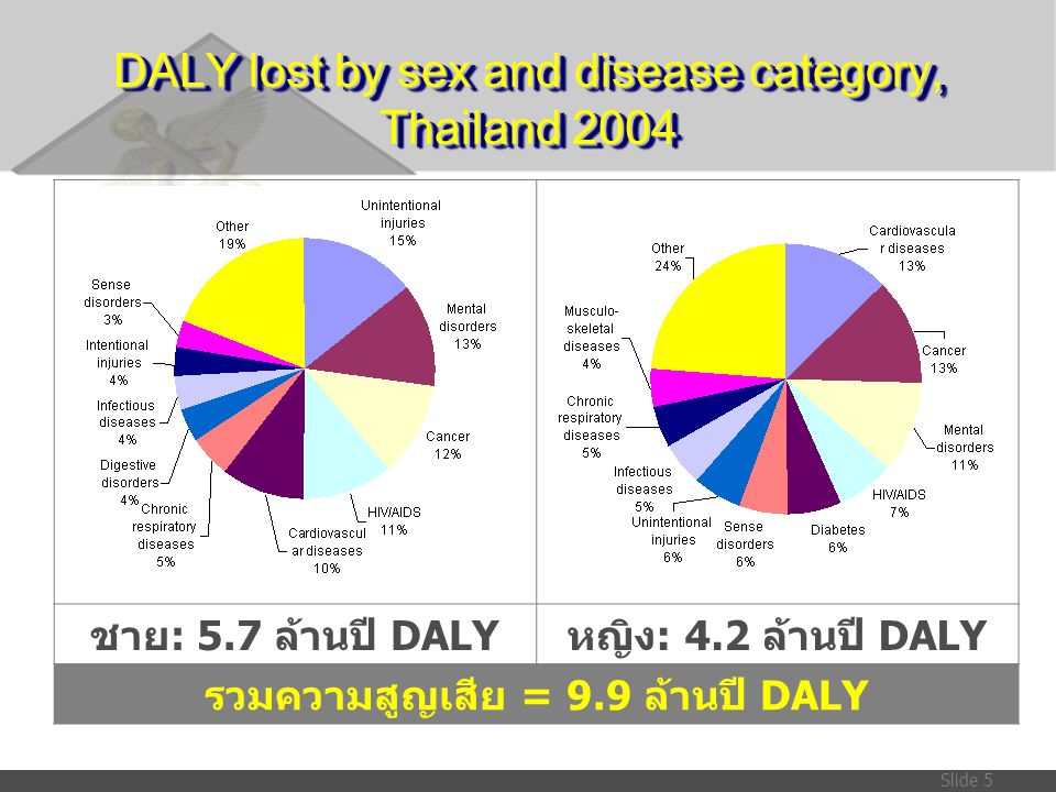 DALY lost by sex and disease category, Thailand 2004