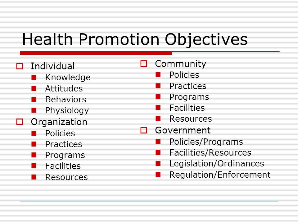 Health Promotion Objectives