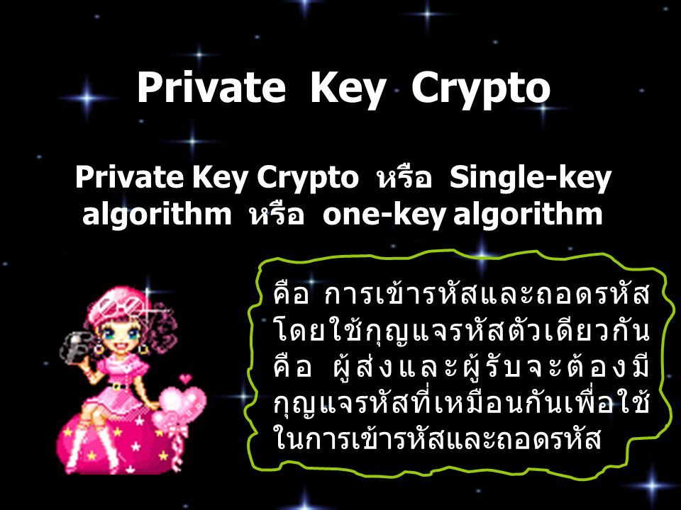 Private Key Crypto หรือ Single-key algorithm หรือ one-key algorithm