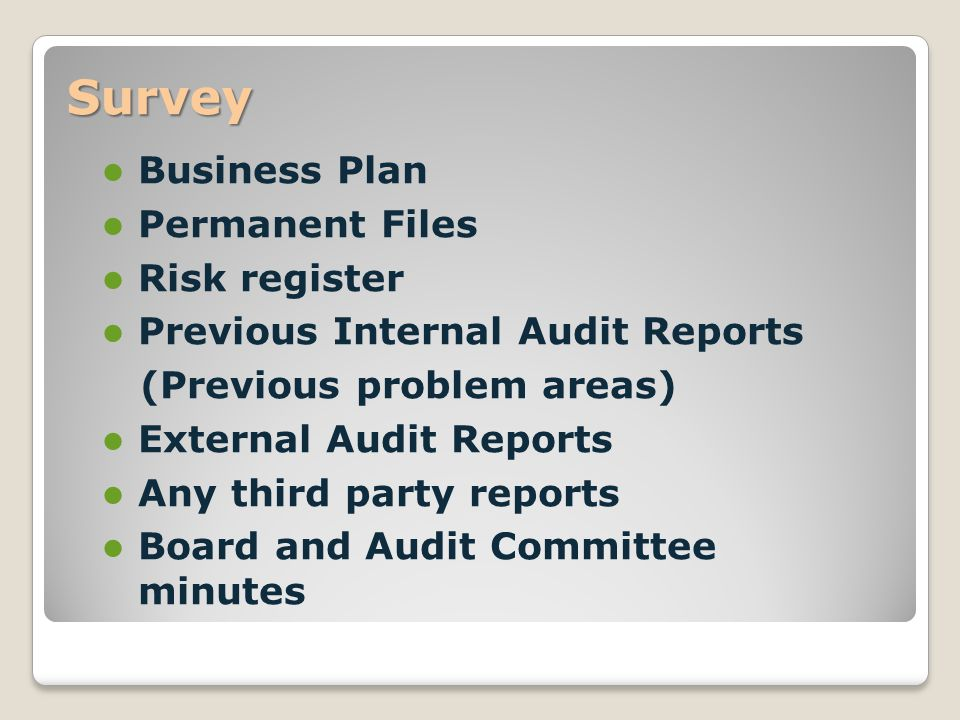 Survey Business Plan Permanent Files Risk register