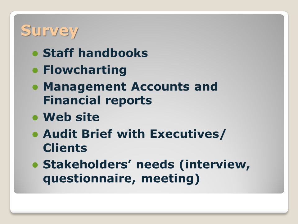 Survey Staff handbooks Flowcharting