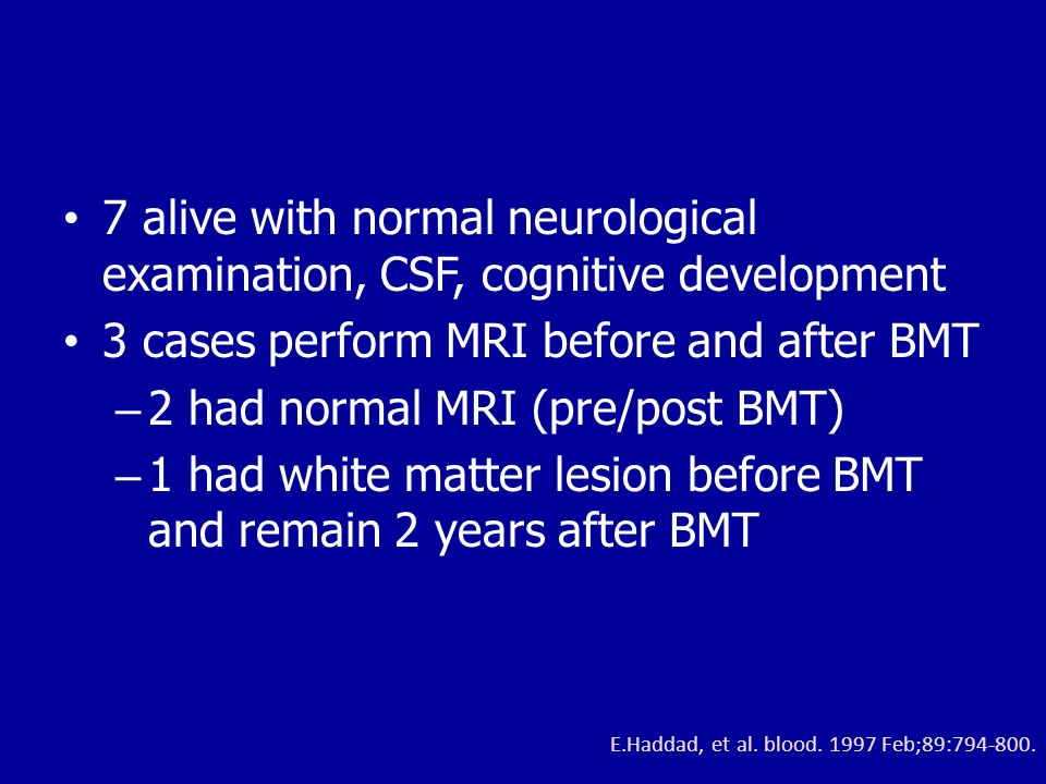 3 cases perform MRI before and after BMT