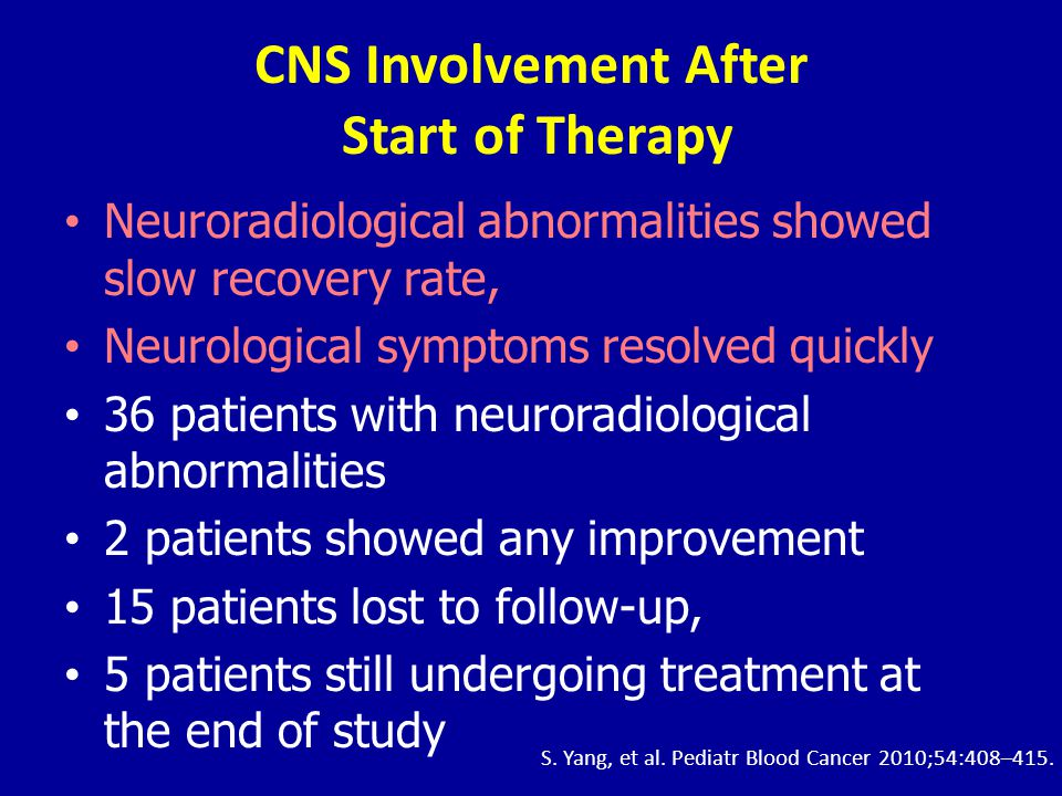 CNS Involvement After Start of Therapy