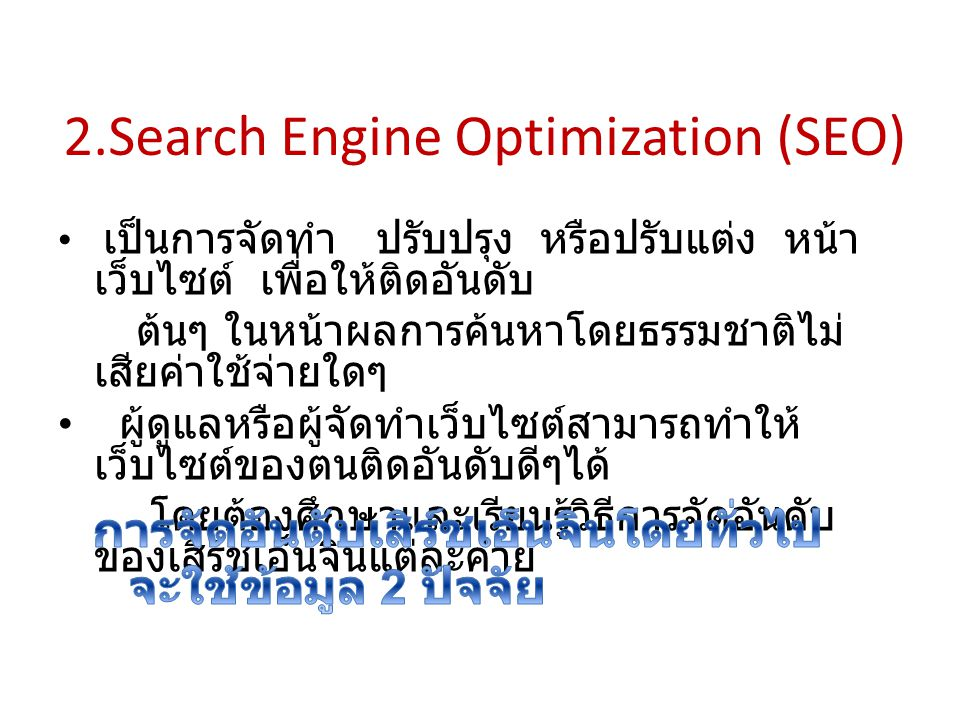 2.Search Engine Optimization (SEO)