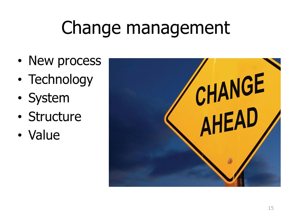 Change management New process Technology System Structure Value