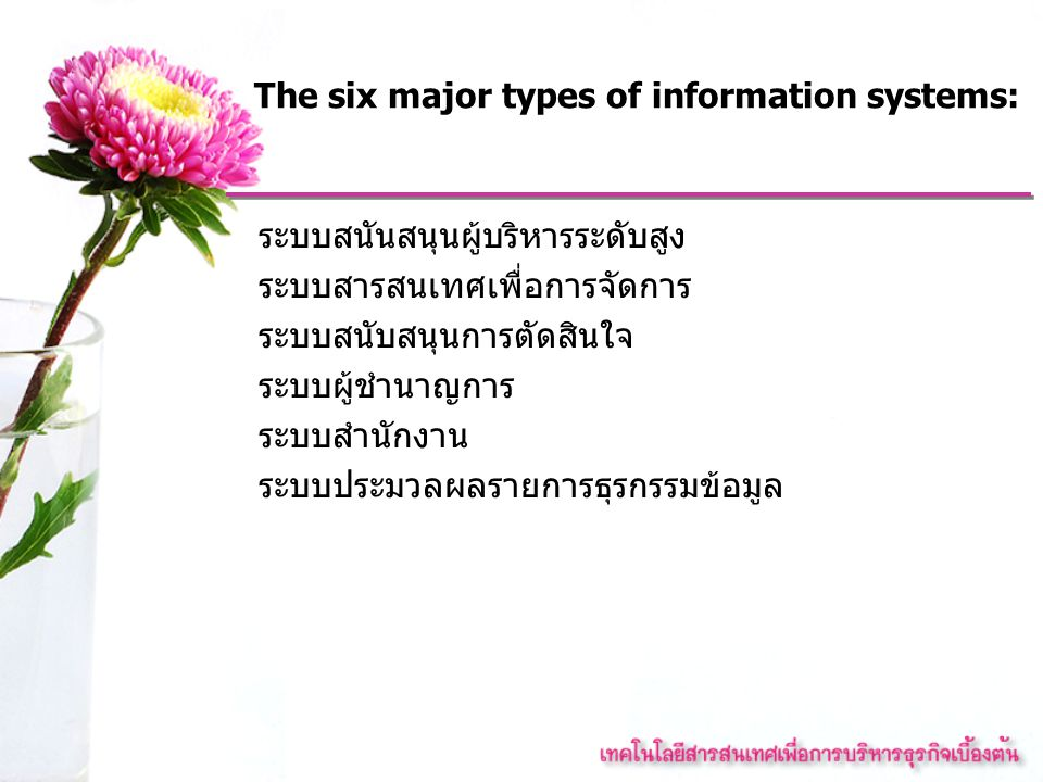 The six major types of information systems: