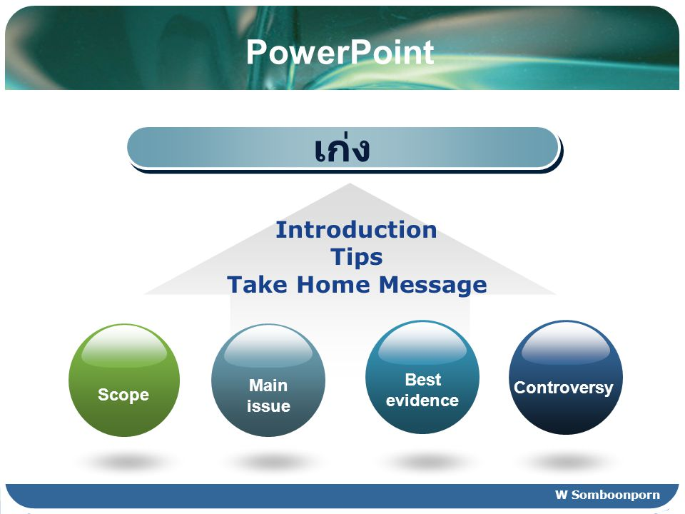 เก่ง PowerPoint Introduction Tips Take Home Message Best evidence