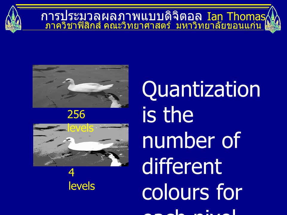 Quantization is the number of different colours for each pixel.