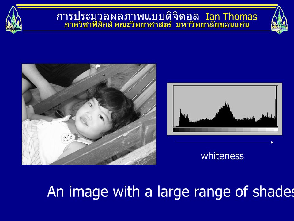 An image with a large range of shades and its histogram.
