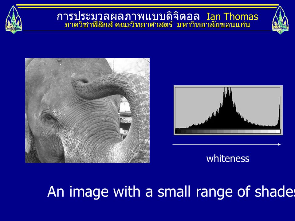 An image with a small range of shades and its histogram.