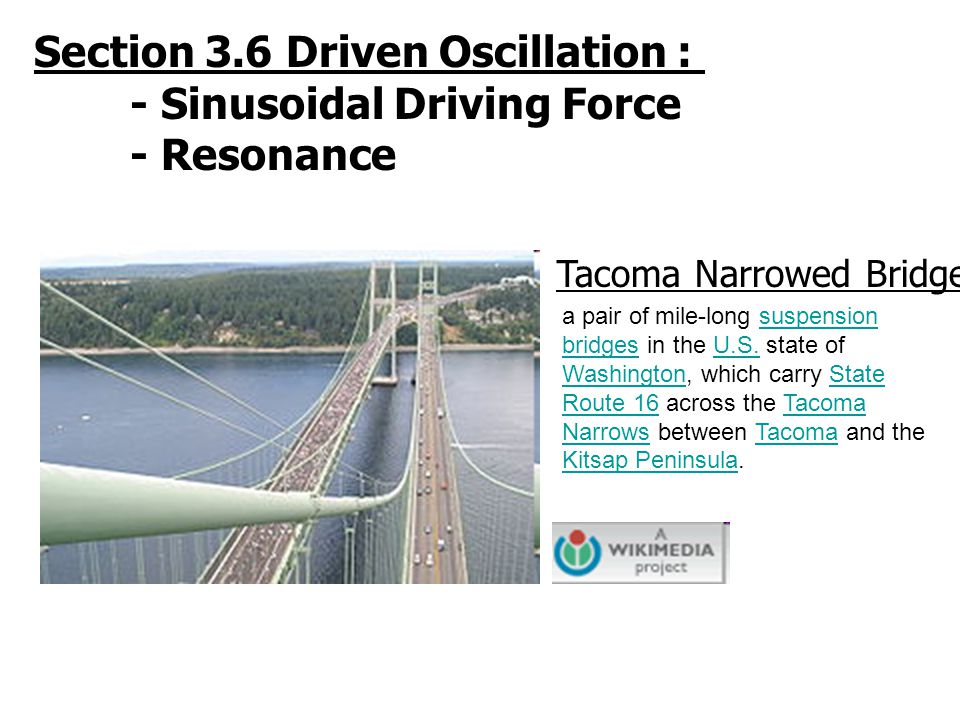 Section 3.6 Driven Oscillation : - Sinusoidal Driving Force