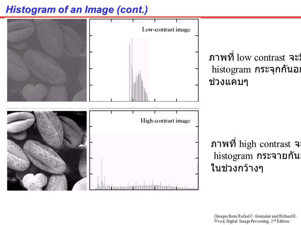 Histogram of an Image (cont.)