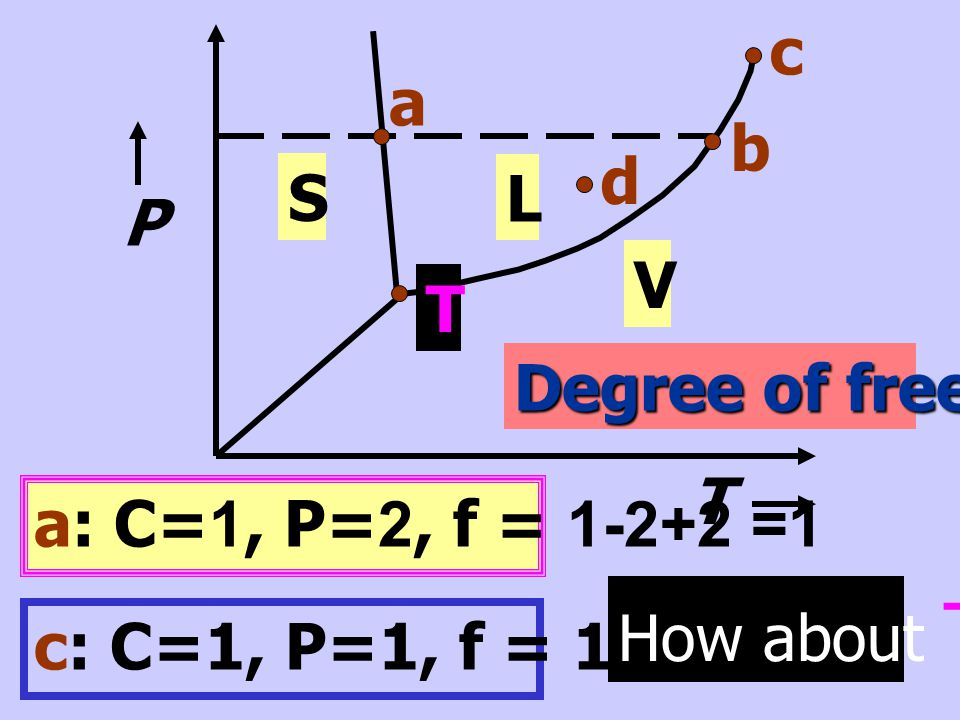 c b. a. d. S. L. V. P. T. Degree of freedom T. a: C=1, P=2, f = 1-2+2 =1. How about T