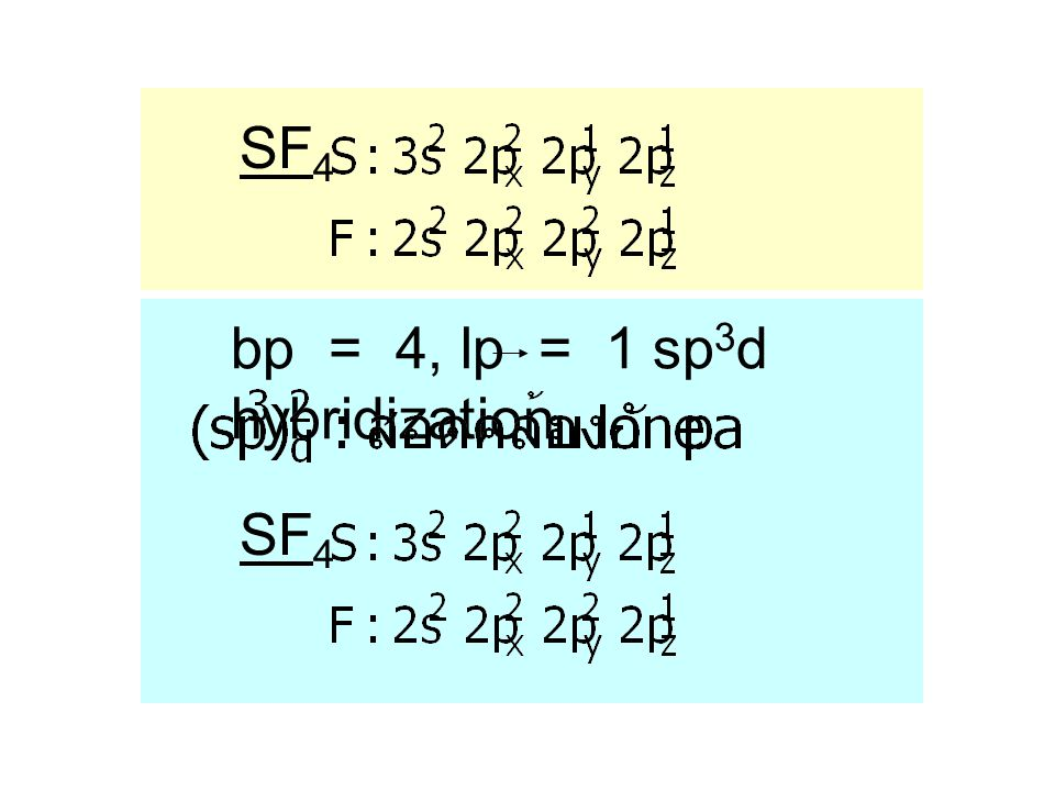 SF4 bp = 4, lp = 1 sp3d hybridization SF4