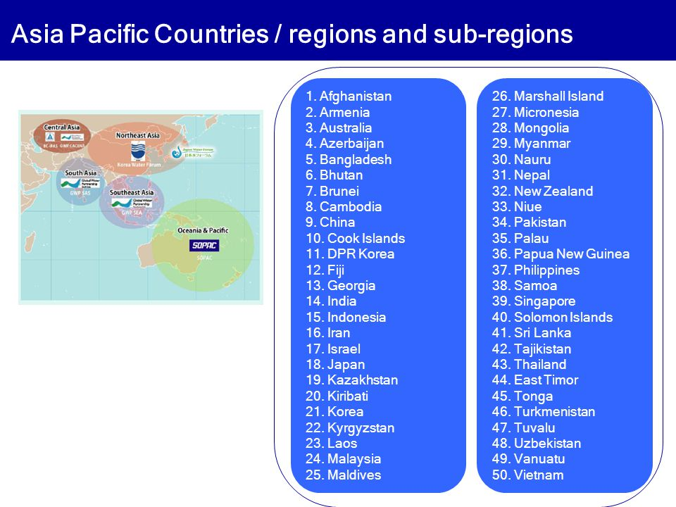 Asia Pacific Countries / regions and sub-regions