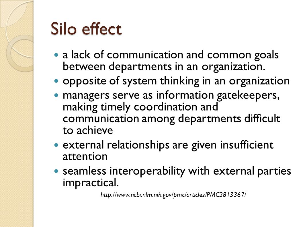 Silo effect a lack of communication and common goals between departments in an organization. opposite of system thinking in an organization.