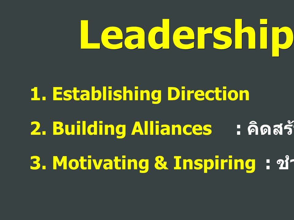 Leadership 1. Establishing Direction : กำหนดทิศ