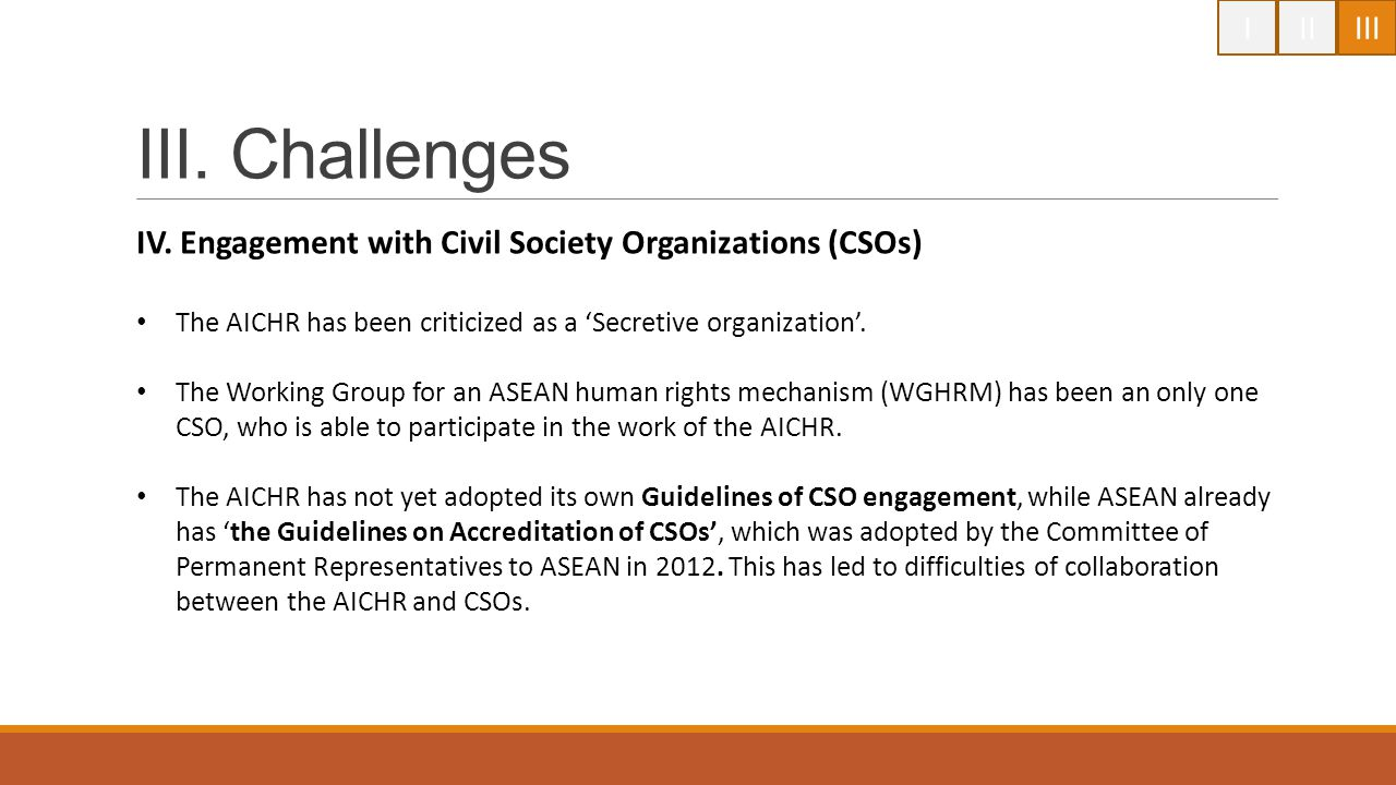 I II. III. III. Challenges. IV. Engagement with Civil Society Organizations (CSOs) The AICHR has been criticized as a 'Secretive organization'.