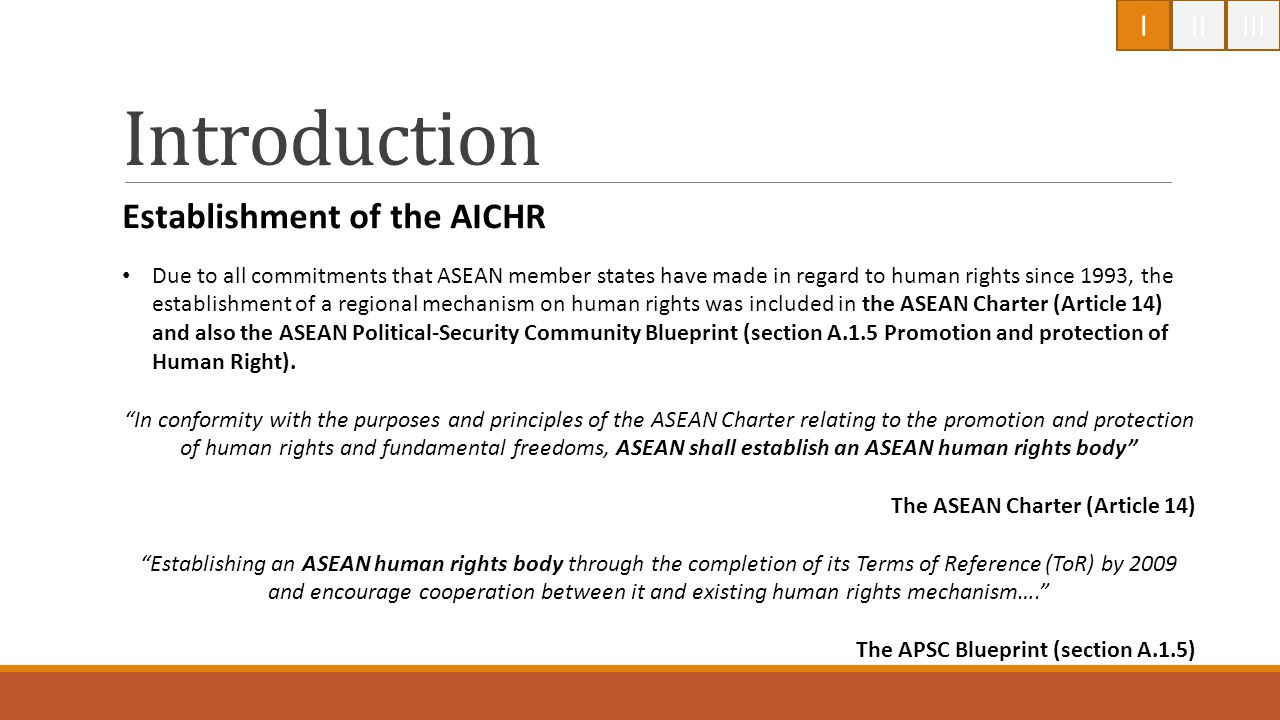 Introduction Establishment of the AICHR I II III