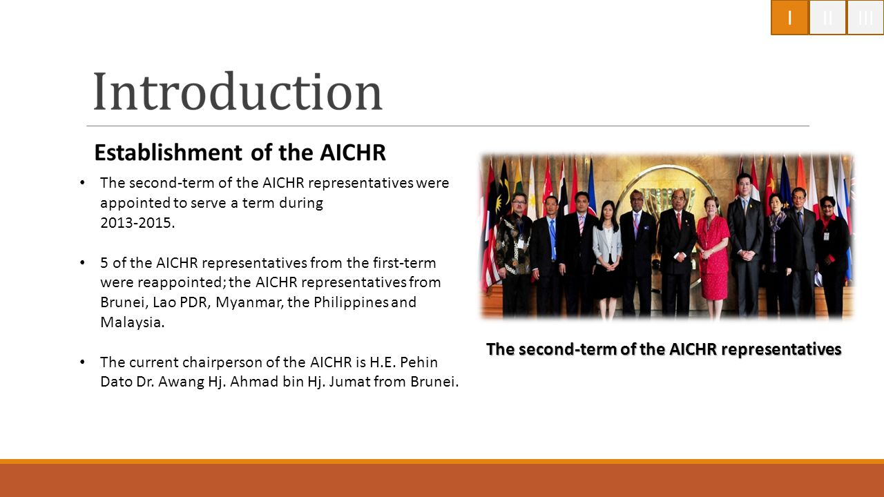 I II III The second-term of the AICHR representatives