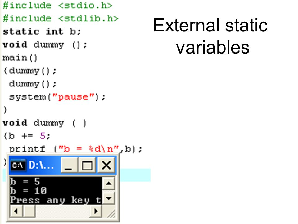 External static variables
