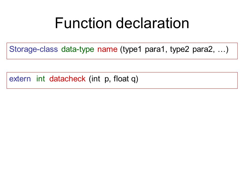 Function declaration Storage-class data-type name (type1 para1, type2 para2, …) extern int datacheck (int p, float q)