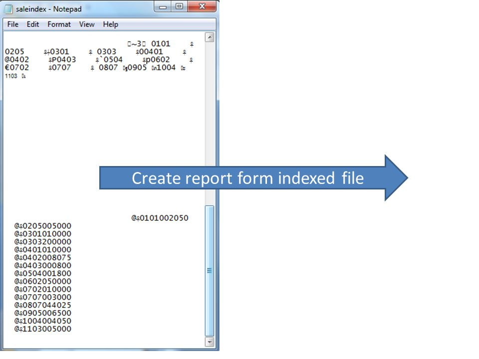 Create report form indexed file