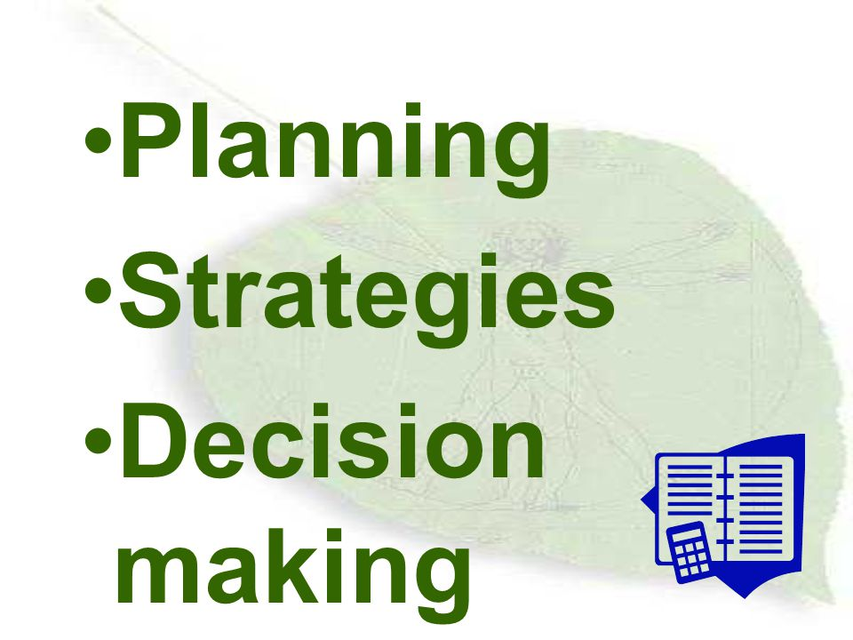 Planning Strategies Decision making