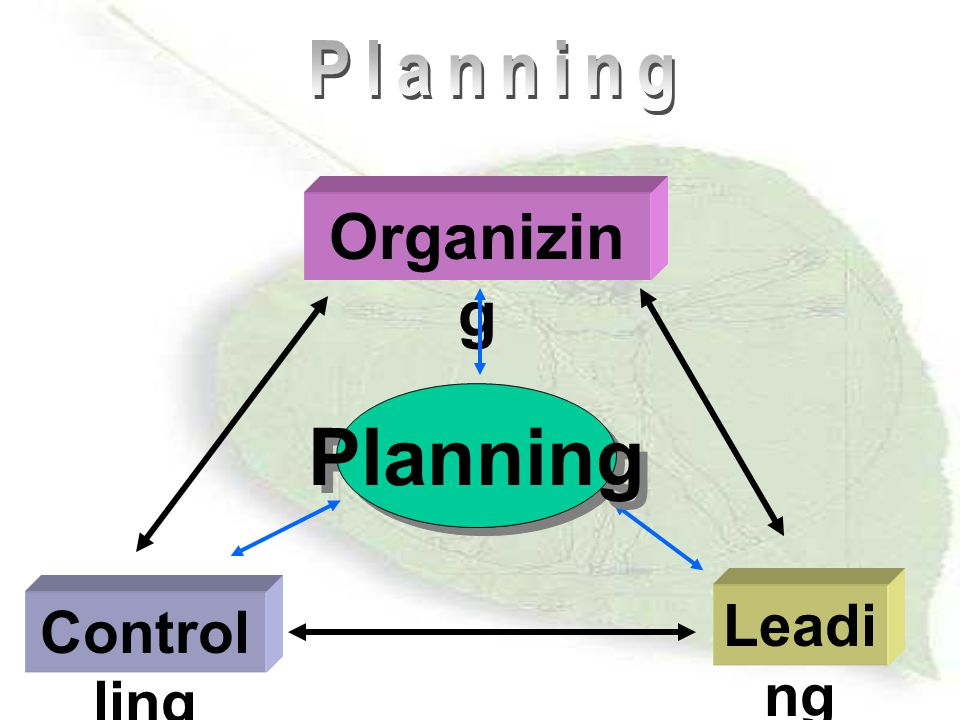 Planning Organizing Planning Leading Controlling