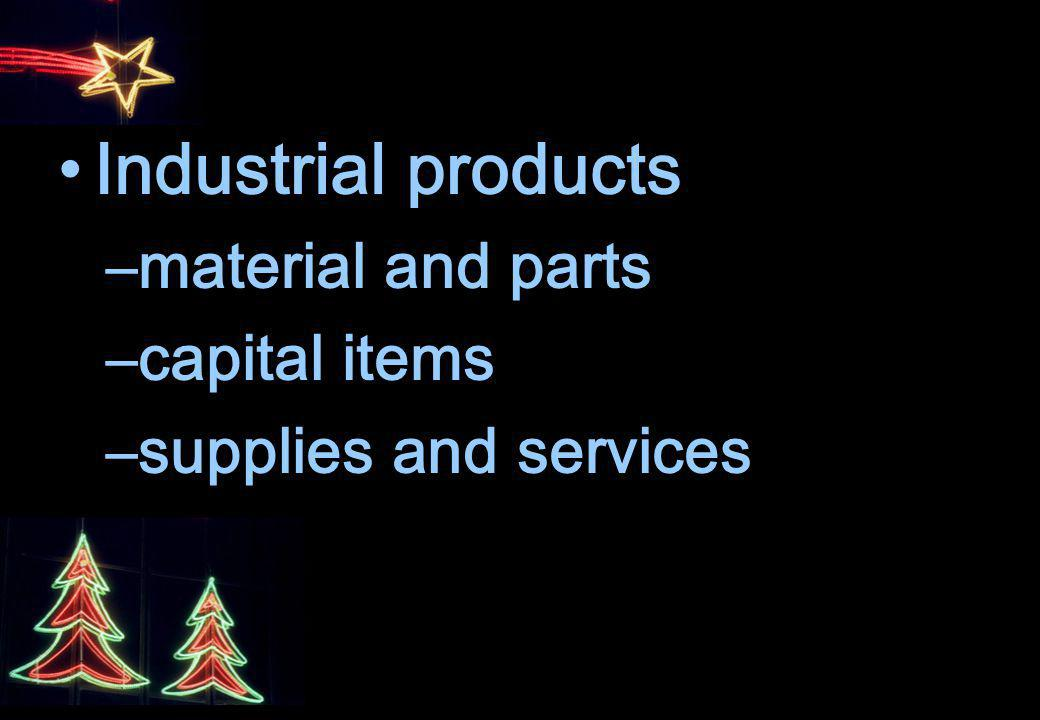 Industrial products material and parts capital items