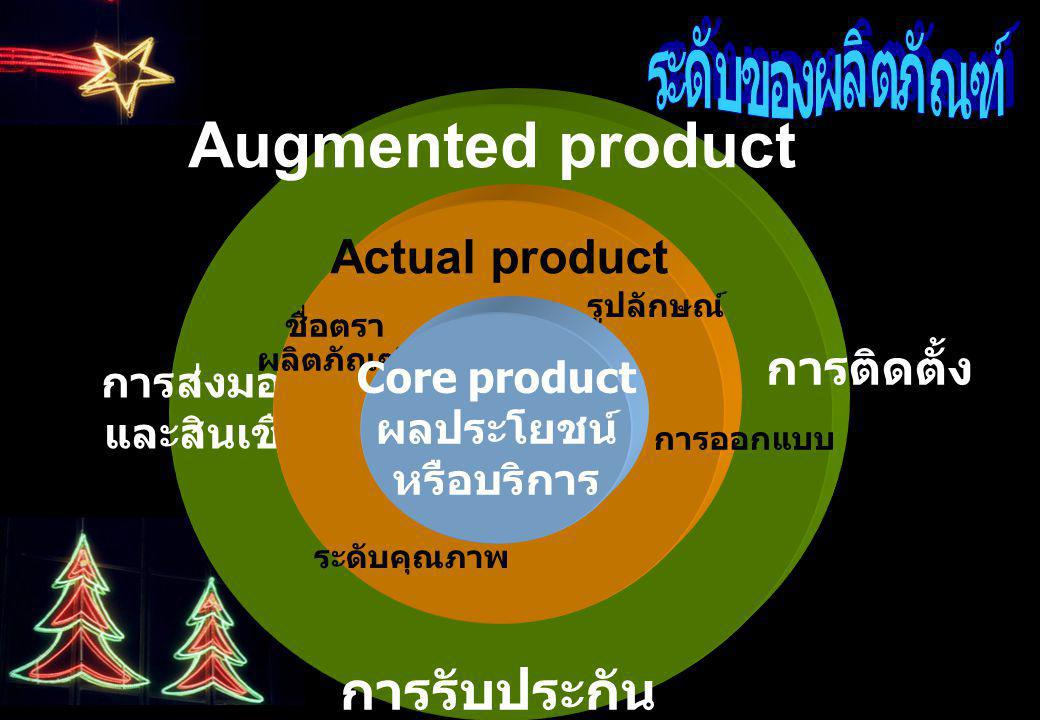 Augmented product การรับประกัน ระดับของผลิตภัณฑ์ Actual product