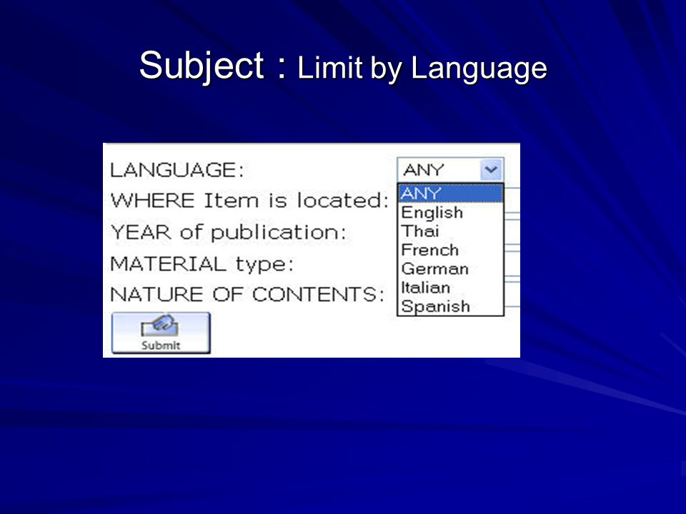 Subject : Limit by Language