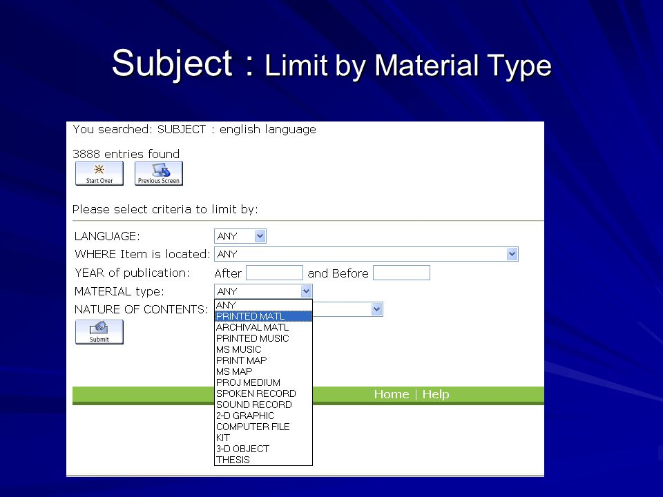 Subject : Limit by Material Type