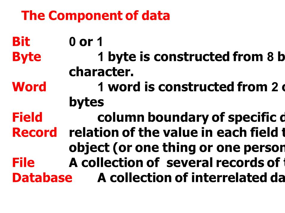 The Component of data Bit 0 or 1. Byte 1 byte is constructed from 8 bits to represent 1. character.