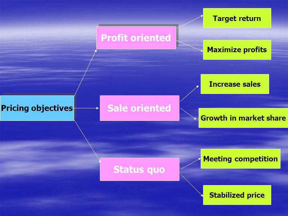 Profit oriented Sale oriented Status quo