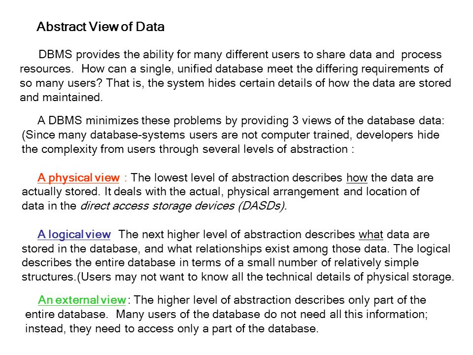 Abstract View of Data DBMS provides the ability for many different users to share data and process.
