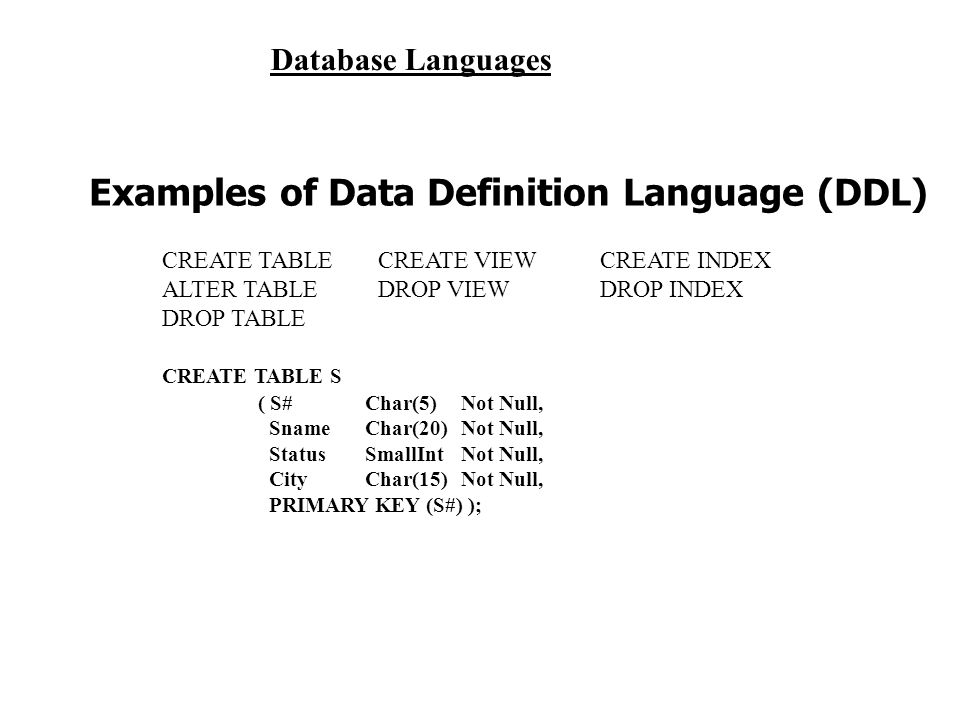 Examples of Data Definition Language (DDL)