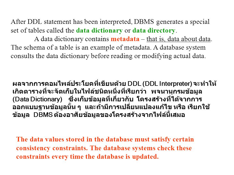 After DDL statement has been interpreted, DBMS generates a special set of tables called the data dictionary or data directory.