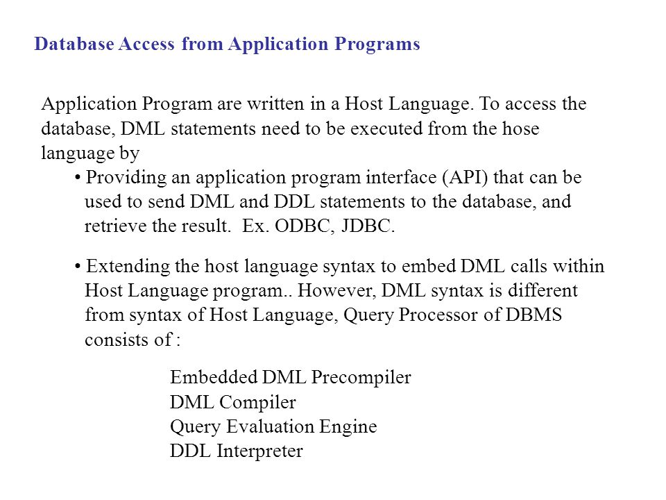 Database Access from Application Programs