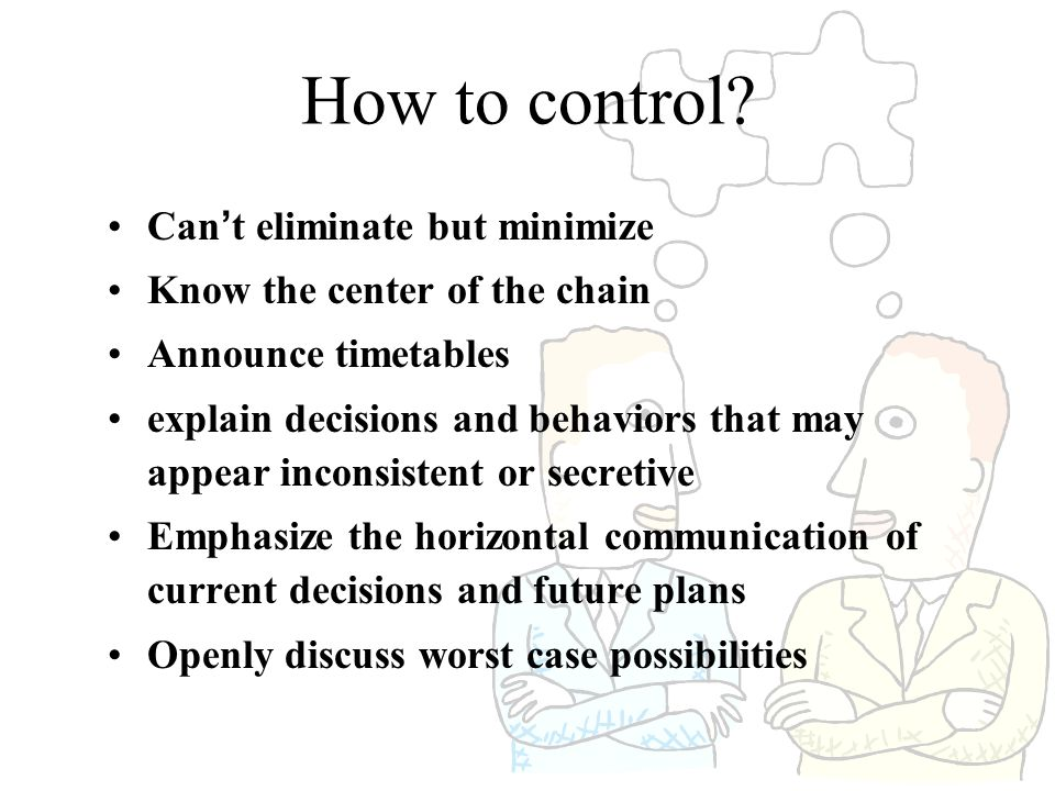 How to control Can't eliminate but minimize