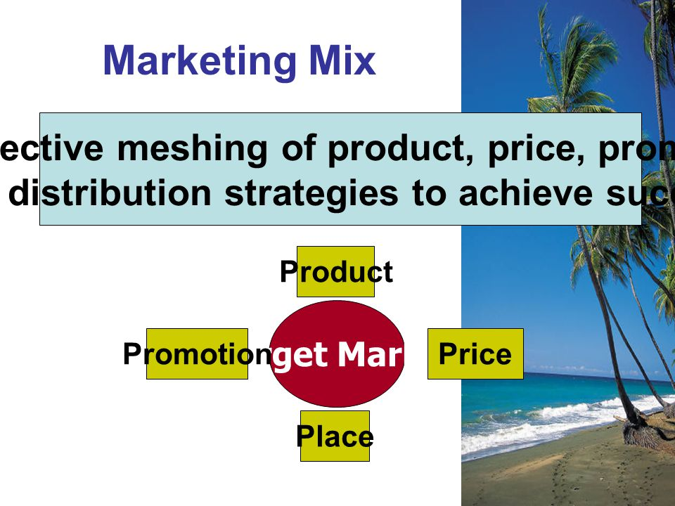 Marketing Mix The effective meshing of product, price, promotion,