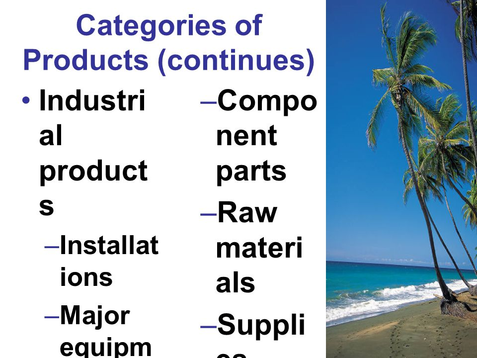 Categories of Products (continues)
