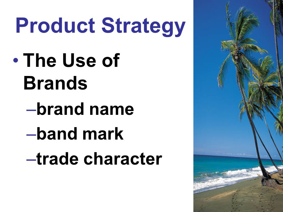 Product Strategy The Use of Brands brand name band mark