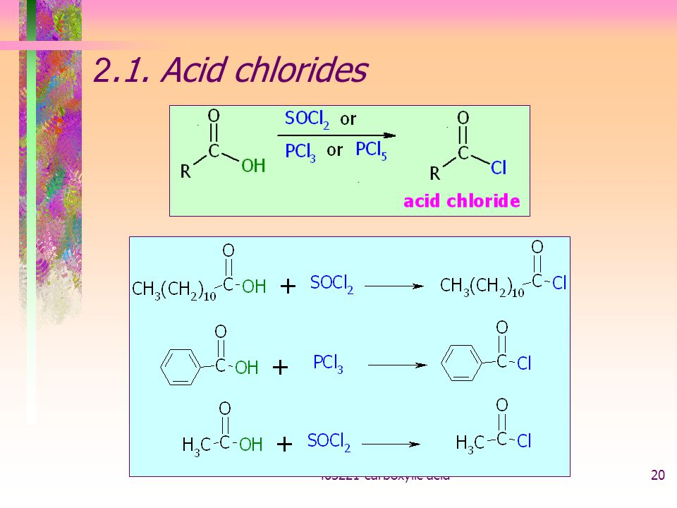2.1. Acid chlorides carboxylic acid