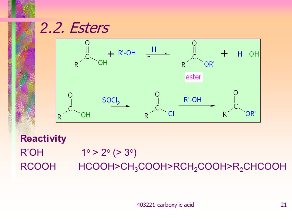 2.2. Esters Reactivity R'OH 1o > 2o (> 3o)