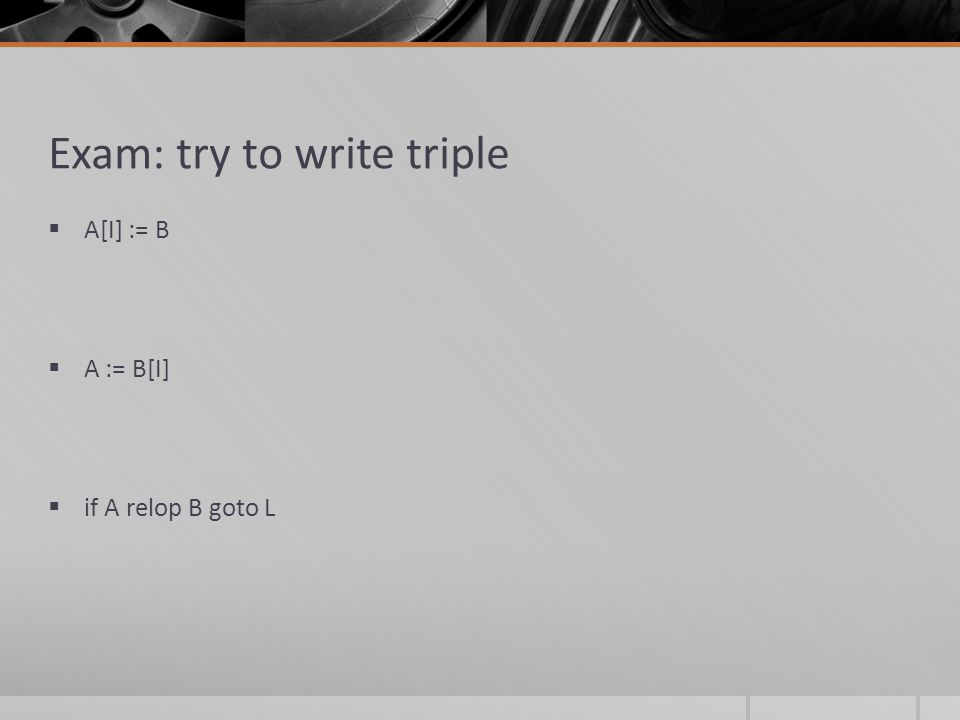 Exam: try to write triple