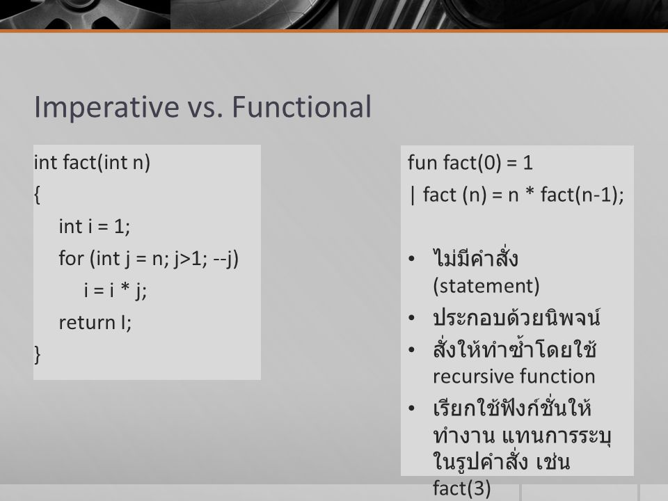 Imperative vs. Functional