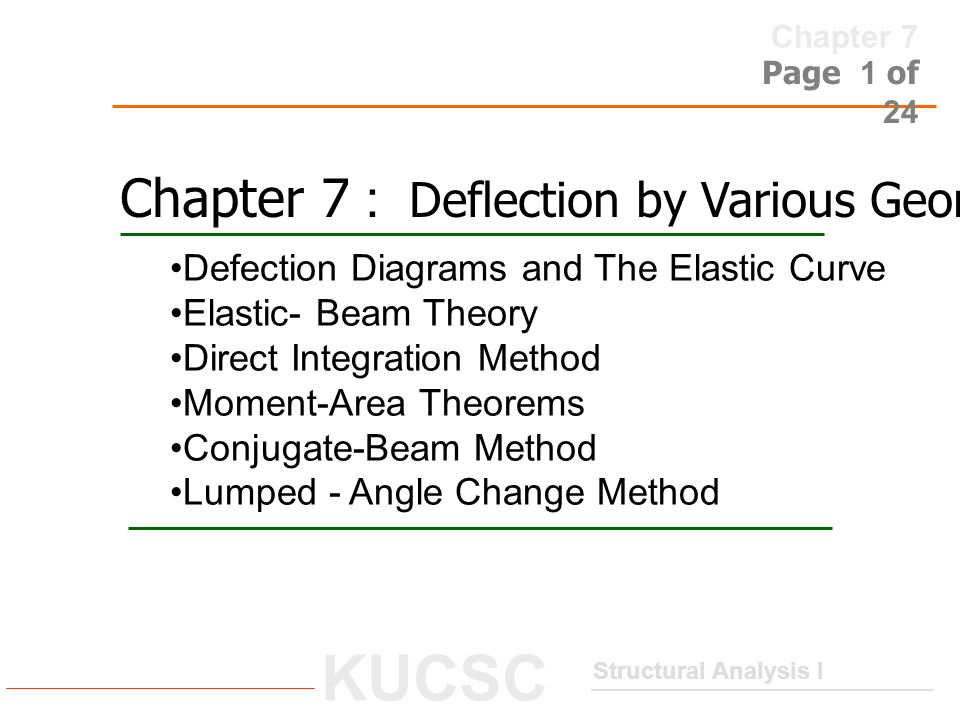 Chapter 7 : Deflection by Various Geometrical