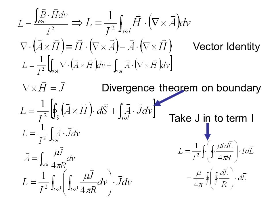 Vector Identity Divergence theorem on boundary Take J in to term I