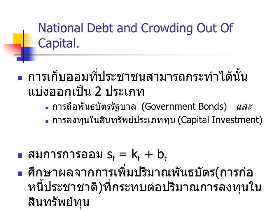 National Debt and Crowding Out Of Capital.